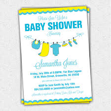 baby shower invitations yellow blue baby clothes clothesline