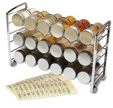 amazon com decobros spice rack stand holder with 18 bottles and amazon com decobros spice rack stand holder with 18 bottles and 48 labels chrome kitchen dining
