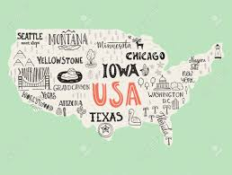 map us usa usa map handdrawn illustration with lettering and symbols of