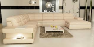 Modern Genuine Leather Sofa Casa 6130 Modern Cream And White Leather Sectional Sofa