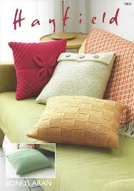 Knitted Cushion Cover Patterns Hayfield Bonus Aran 7803 Cushion Covers Knitting Pattern