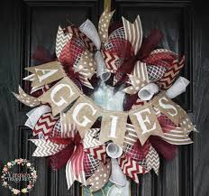 aggies deco mesh wreath a m by virgiestreasures on etsy