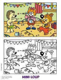 coloriage la fête de mini loup coloriages et jeux pinterest