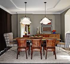 leather dining chair dining room transitional with brown window