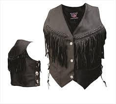 motorcycle vest cowhide leather vest w fringe braid u0026 conchos