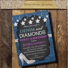 denim u0026 diamonds pink invitation sweet 16 21st 30th 40th