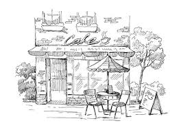 coffee shop architecture sketching drawing clip art digital