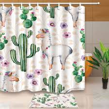 online get cheap cactus curtain aliexpress com alibaba group cute alpaca and cactus bed bath shower curtain bedroom waterproof fabric 12 hooks china