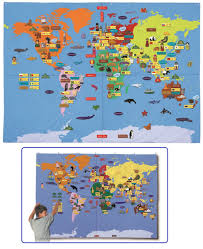 Giant Map Giant World Map Fabric Wallhanging 170cm X 240cm With 184 Velcro