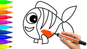coloring pages for kids how to draw fish videos for children