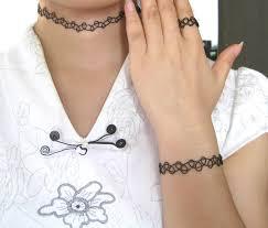 black tattoo necklace images 10 black tattoo choker bracelet ring set vintage 80s henna jpg