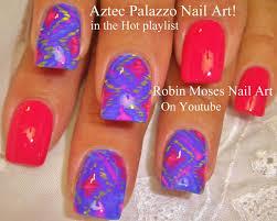 nail art tutorial diy easy aztec nails neon palazzo print nail