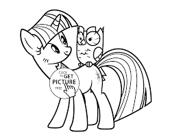 my little pony twilight sparkle and owl coloring page for kids