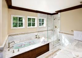 bathroom with large shower luxury on transitional stirring