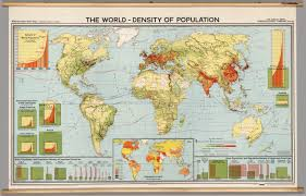 World Map 1800 by World Population Density 1966 David Rumsey Historical Map