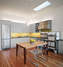 cabinets with yellow accent acrylic chairs reclaim gray