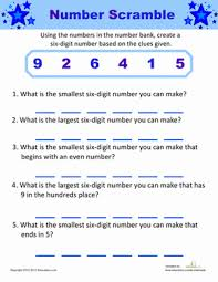 number scramble numbers banks and fourth grade