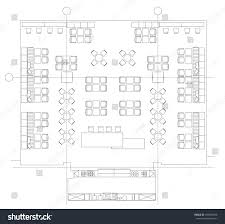 office plans standard furniture symbols used architecture plans stock vector