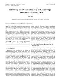 Radio Thermal Generator Improving The Overall Efficiency Of Radioisotope Thermoelectric
