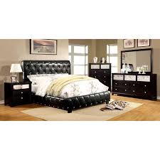 Black Leather Bedroom Furniture by Furniture Of America Dahsiel Platform Bed Set With Bluetooth