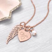 angel wing gold necklace images Personalised rose gold heart and angel wing necklace hurleyburley jpg
