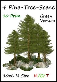 second marketplace 10 l 4 pine trees green 10 prim