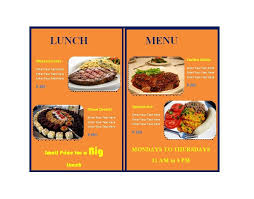 lunch menu template free family restaurant menu template