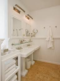 picture lights over mirrors glass shelves above sinks magnifying
