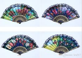 lace fans flower floral fan fabric lace folding fans