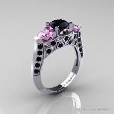 black wedding rings with pink diamonds modern 14k white gold three black light pink