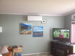 ideas grey wall design with ductless heat pump also white ceiling