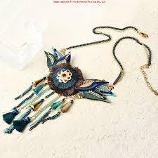 leaf pattern necklace women s bohemian leaf wings flower pattern chain simple wool tassel