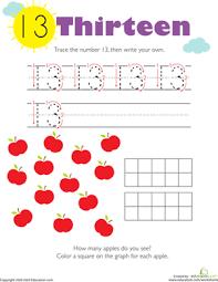 tracing numbers u0026 counting 13 worksheet education com
