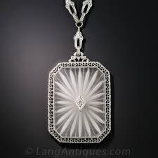 white quartz necklace images Large quartz crystal art deco necklace by kohn co jpg