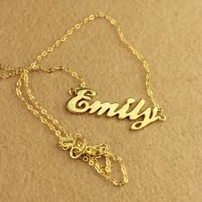 gold necklace with name in cursive cursive nameplate necklace 18k gold plated