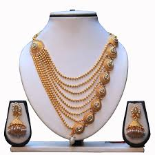 coloured pearls necklace images White colour kundan pearls necklace set with jhumki jpg