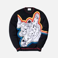 iceberg sweater iceberg superman sweater black multi kith