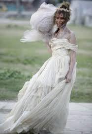 Dead Bride Halloween Costume Bloody Horror Zombie Wedding Gown Puff Sleeves Zombie Bride