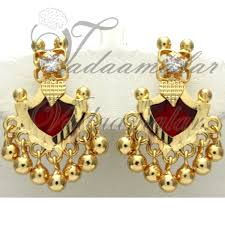 kerala style jhumka earrings palakka traditional india kerala earring earstud micro gold