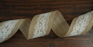 burlap and lace ribbon 2 5 inch burlap ribbon with white lace overlay burlap lace ribbon
