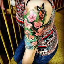 half sleeve flowers with butterfly for tattooshunt com