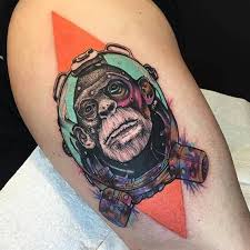 monkey tattoo on the right thigh referenced from maarten verhoeven
