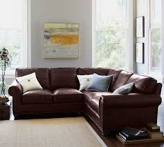 L Shaped Sectional Sofa Webster Leather 3 Piece L Shaped Sectional With Corner Pottery Barn
