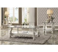 glass coffee table set of 3 coffee side end tables versailles 3 pc clear glass coffee table