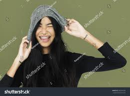 casual with casual holding beanie stock photo 606701264