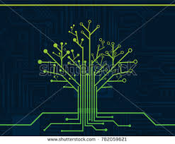electronic green nerve neuron tree circuit stock vector 782059621