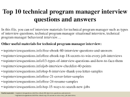Technical Program Manager Resume Sample by Top10technicalprogrammanagerinterviewquestionsandanswers 150323074211 Conversion Gate01 Thumbnail 4 Jpg Cb U003d1427114587