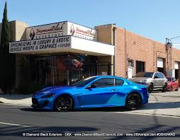 satin black maserati maserati granturismo mc wrappedin blue chrome by dbx diamond