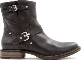ugg womens fabrizia boots black lyst ugg fabrizia leather biker boots in black