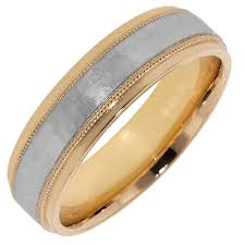 mens yellow gold wedding bands artcarved mens hammered wedding band in 14kt yellow gold and white